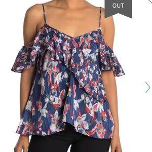 NWT Tanya Taylor Floral Ikat ColdShoulder Silk Top